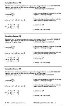 Algebra I Cumulative Review #12
