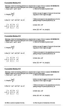 Algebra I Cumulative Review #12