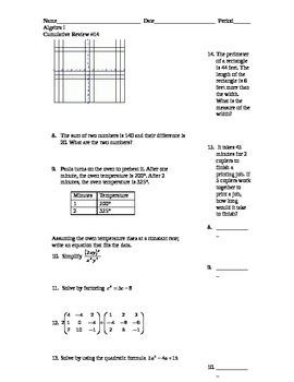 Algebra I Cumulative Review #14