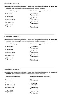 Algebra I Cumulative Review #2