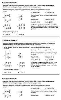 Algebra I Cumulative Review #5