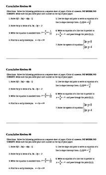 Algebra I Cumulative Review #6