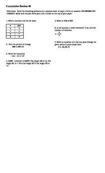 Algebra I Cumulative Review #7