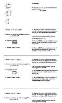 Algebra I Cumulative Review #9