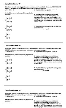 Algebra I Cumulative Review #9