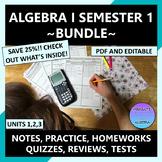 Algebra 1 Curriculum 1st Semester Units 1-3 Editable