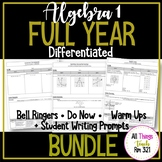 Algebra I DIFFERENTIATED Do Now/Bell Ringers FULL YEAR Bundle + Writing Prompts