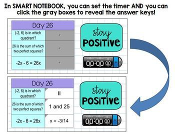 Algebra I Daily Warm Up Calendar Math with Timer - Day 1 to 45