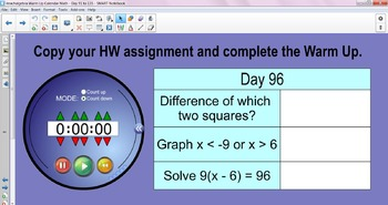 Algebra I Daily Warm Up Calendar Math with Timer - Day 91 to 135