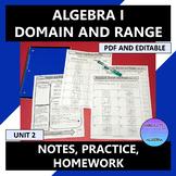 Algebra I Domain and Range Notes Practice Homework PDF and