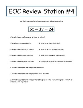 Algebra I EOC Review