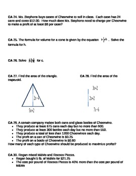 Algebra I EOC Review - Algebra
