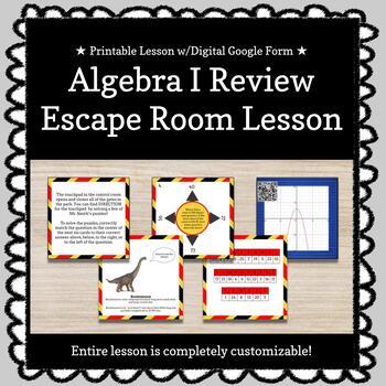 Algebra I EOC Review Customizable Escape Room / Breakout Game