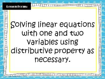 Algebra I EOC STAAR Review: Solving Linear Equations