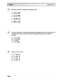 Algebra I End-of-Course Practice Test