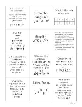 Algebra I Review QUIZ QUIZ TRADE Freebie