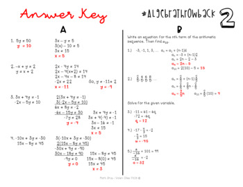 Algebra I End of Year Review THROWBACK #2