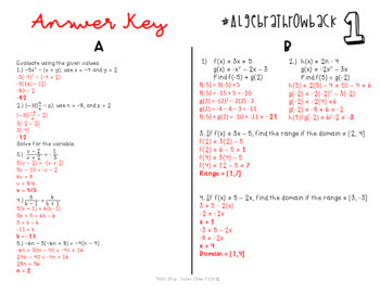Algebra I End of Year Review THROWBACK #1
