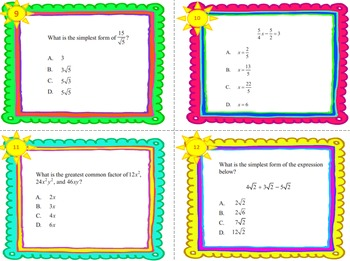 Algebra I End-of-the-Year Review Task Cards