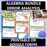 Algebra 1 Error Analysis Bundle Task Cards AND Google Form