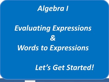 Algebra 1: Evaluating Expressions - Words to Expressions