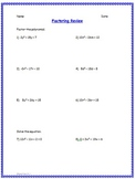 Algebra I Factoring Review