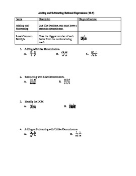 Algebra I Fill-In Notes:  Adding and Subtracting Rational Expressions