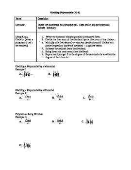 Algebra I Fill-In Notes:  Dividing Polynomials