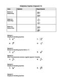 Algebra I Fill-In Notes:  Multiplication Properties of Exponents
