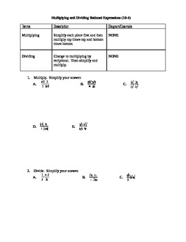 Algebra I Fill-In Notes:  Multiplying and Dividing Rational Expressions
