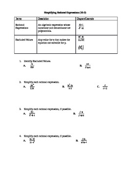 Algebra I Fill-In Notes:  Simplifying Rational Expressions