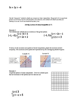 Algebra I Fill-In Notes:  Solving Linear Inequalities and their Systems