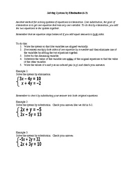 Algebra I Fill-In Notes:  Solving Systems by Elimination