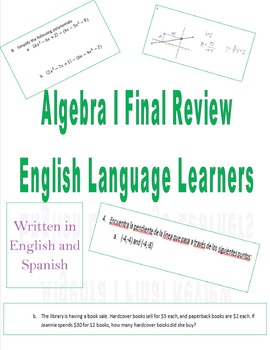 Algebra I Final Review for English Language Learners (English & Spanish)