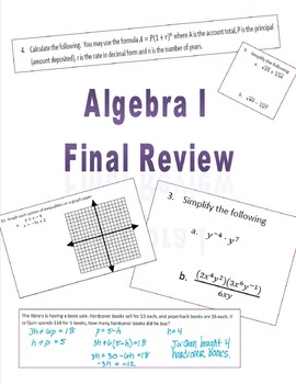 Algebra I Final Review with Worked Out Solutions