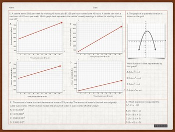 Algebra I Test / STAAR Benchmark / Back to School Review / End of Year Test