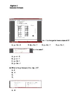 Algebra I First Semester Exam