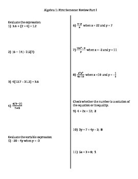 Algebra I: First Semester Review PART 1 (out of 3 parts)