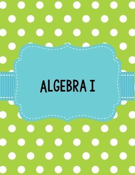 Algebra I GSE Georgia Teacher Binders in Lime Green and Teal