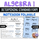 Algebra 1 - Determining Linear Equations using Standard Form - Foldable