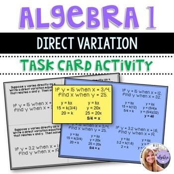 Algebra 1 - Direct Variation Equation Task Cards