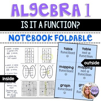 Algebra I & Grade 8 Middle School Math - Functions Foldabl
