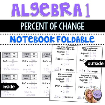 Algebra 1 - Calculating the Percent of Change Using the Formula - Foldable