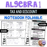Algebra 1 - Percent of Change: Calculating Tax and Discount - Foldable