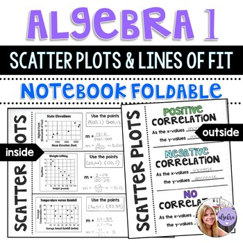 Algebra 1 - Scatter Plots and Lines of Fit Writing and Graphing - Foldable