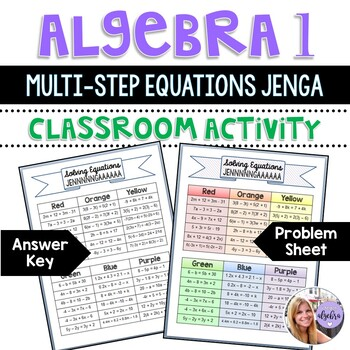 Algebra 1 - Solving Equations with Variables JENGA Game Board