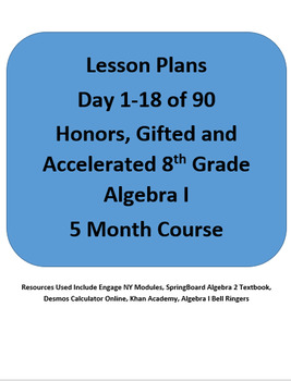 Algebra I Honors Lesson Plans for 1-18 of 90 Days