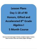 Algebra I Honors Lesson Plans for 1-18 of 90 Days