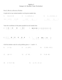 Algebra I Integers & Absolute Value Practice Worksheet