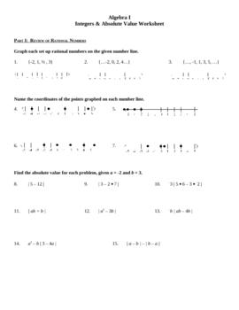 algebra i integers absolute value practice worksheet by lexie tpt. Black Bedroom Furniture Sets. Home Design Ideas